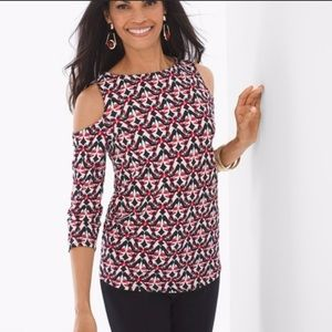 NWT CHICOS CUT OUT SHOULDER TOP SMALL